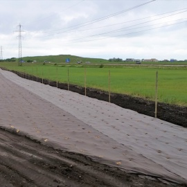 Biocovers weed and erosion control mats,  made from organic material, fully compostable, low carbon foot print